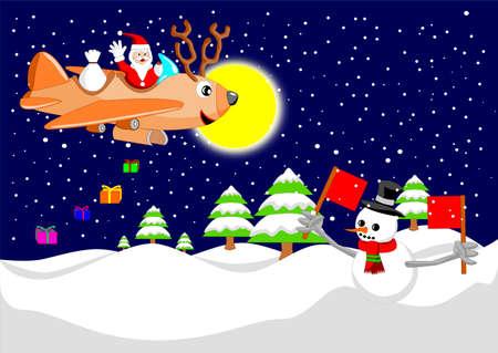 산타 클로스가 순록 비행기로 날고있다 일러스트