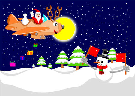Santa claus is flying with reindeer airplane