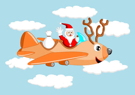 Santa claus and reindeer airplane Vector