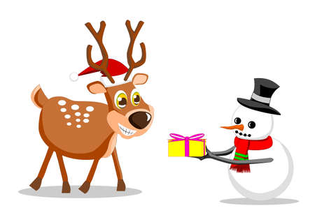 Snowman give gift to Reindeer