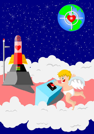 launcher: Cupid fir love rocket to hte earth Illustration