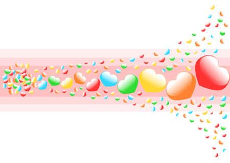 emanate: Multicolored heart background    Illustration