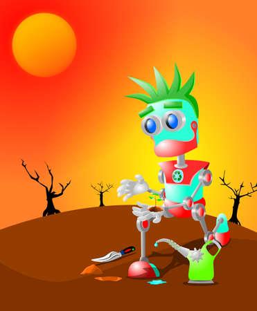 로봇은 마지막 식물을 심고있다.