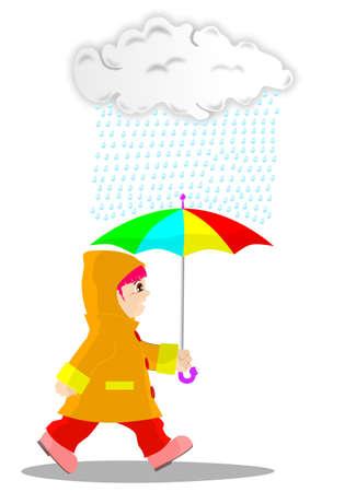 Girl in the rain Illustration