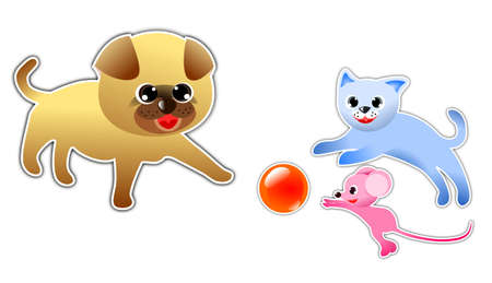 Dog, cat and Mouse playing ball together Çizim