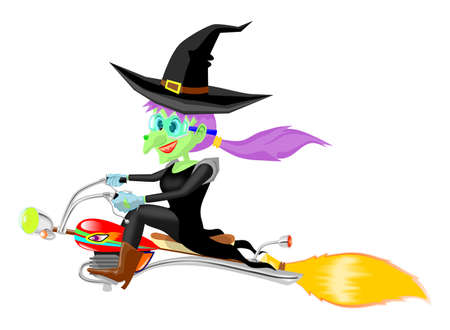 Witch fly with motor broomstick