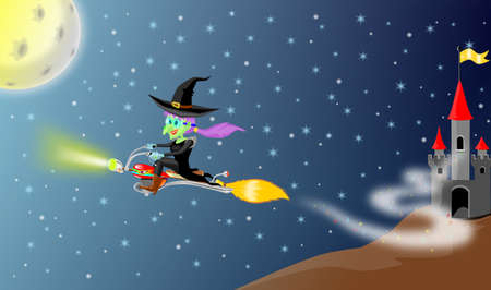 Witch fly with motor broomstick  from her castle