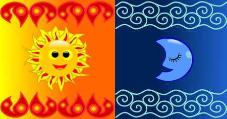 태양과 달 배경 일러스트