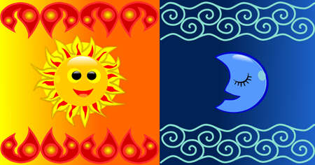 Sun and Moon background Çizim