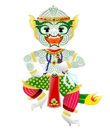 Hanuman,  Monkey in Thai style Illustration