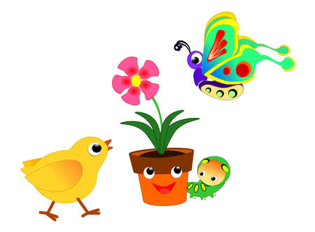 Flowerpot and friends Illustration