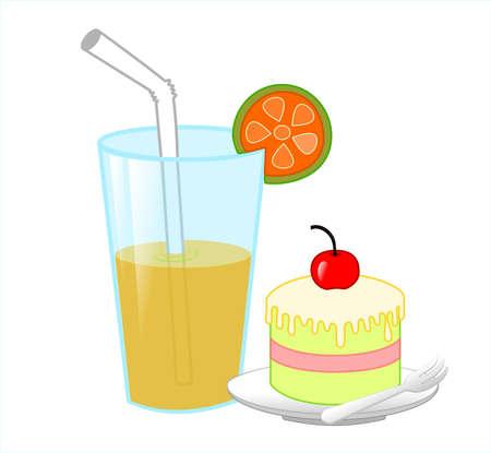 케이크와 오렌지 주스 일러스트