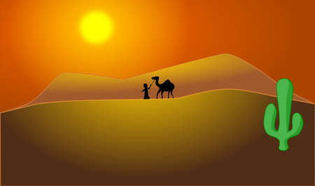 방랑자가 사막을 가로 질러 낙타를 인도합니다. 일러스트