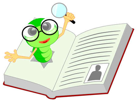 A cute green worm with glasses coming out of a book.