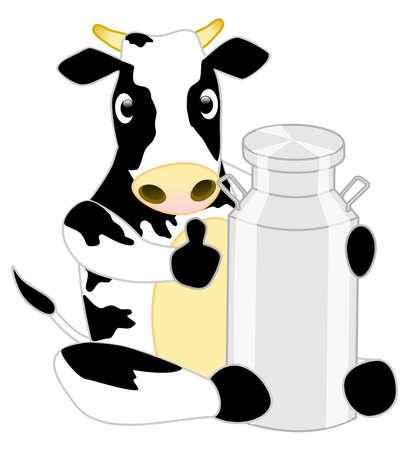 Cute cartoon character Cow hug milk tank