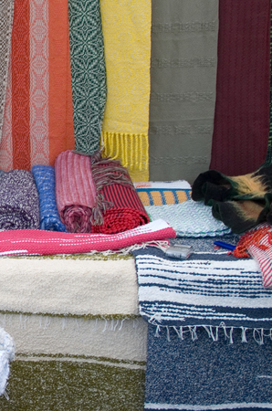 floor coverings: Cotton shawls and floor coverings. Photographed at the Ethnic Fair September 27, 2014 years. Editorial