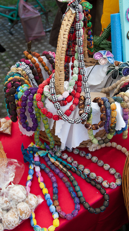 Necklace hand made of various colorful fabrics.Photographed in Zrenjanin 27th September 2014.