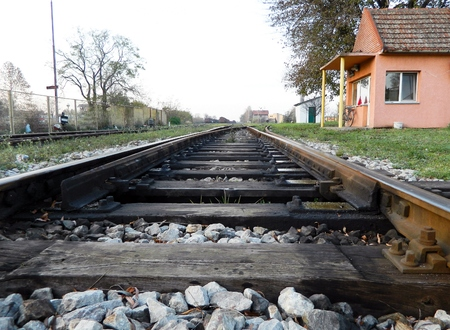 crossway: Crossover to the railway line is the plant that is used to switch trains from track to track. Stock Photo