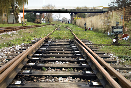 turnouts: Train switches the installation that is used to run trains from one track to another. Stock Photo