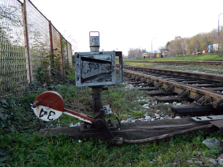 turnouts: Crossover to the railway line is the plant that is used to switch trains from track to track. Stock Photo