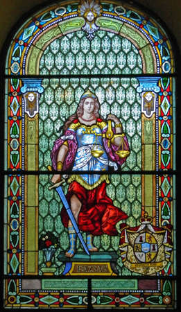judiciary: Leaded glass and the image that is a symbol of justice and the judiciary.
