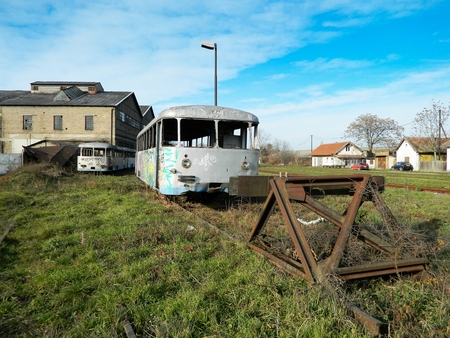 superannuated: Cemetery superannuated old trains waiting cassation.