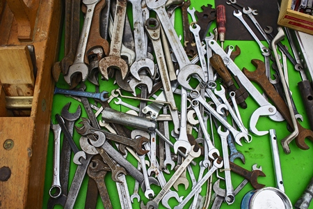 stock photography: Many of the old tools and the keys to the flea market is waiting for customers.