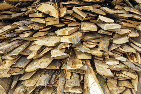 cosiness: Wood at the depot, cut the log and ready for sale. Stock Photo