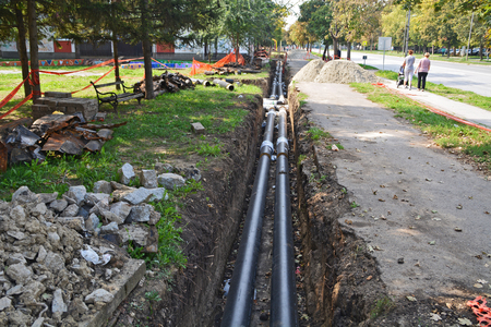 Work on installing the street which is used for domestic heating.
