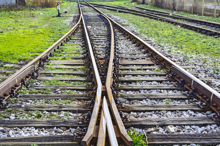 stock photography: Connecting and separating the two railway lines.