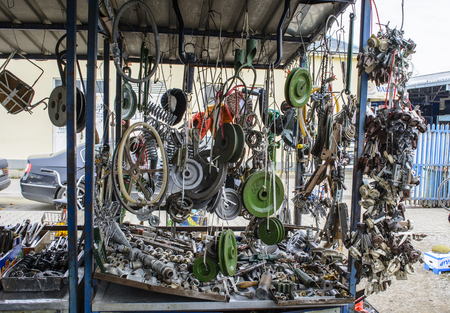secondhand trade: Market stall with old parts for a variety of purposes.