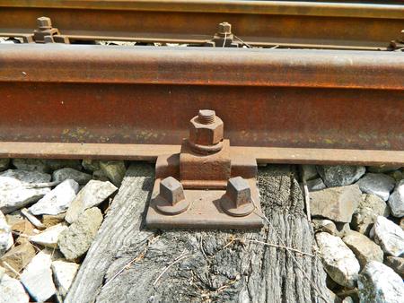 threshold: The old railway line and screw rail threshold. Stock Photo