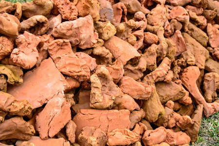 stock photography: Great bunch of parts and shapes baked clay on the mound. Stock Photo