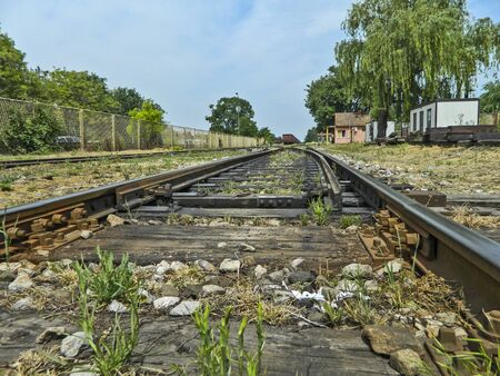 turnouts: Old switches at the railway station. In the old station wagons are waiting on cassation.
