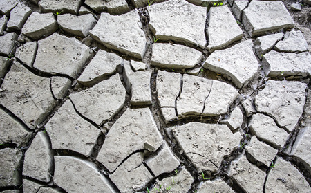 photos of pattern: Cracked land after the withdrawal of river water. Stock Photo