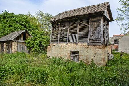 stockroom: Rural old wooden warehouse for corn. Stock Photo