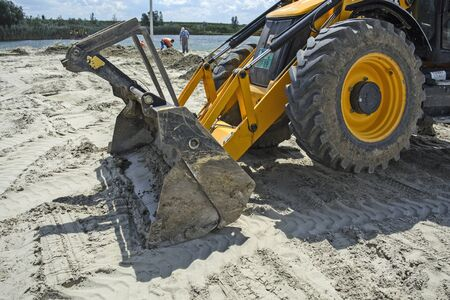 cod hole: ZRENJANIN,SERBIA - JULY 20: 2016. Construction work on playground on the beach  Pescara  in Zrenjanin, Vojvodina, Serbia, 20.July.2016.