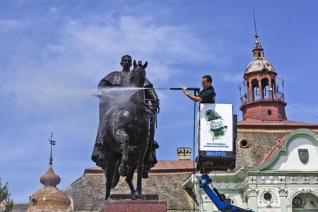 Zrenjanin, Serbia , May 11; 2016. Action washing and cleaning of the monument to King Peter in the city center.