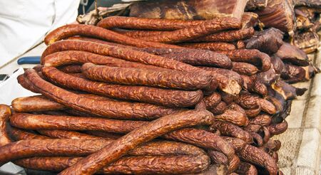 traditionally: Traditionally ready homemade sausages exposed for sale. Stock Photo