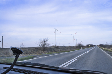 View of the windmills that are found near the main road.