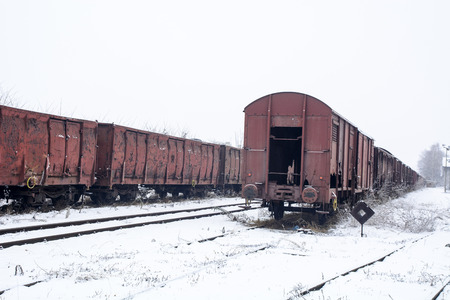 Winter and snow that fell across the tracks and intersections of two tracks. Stock fotó