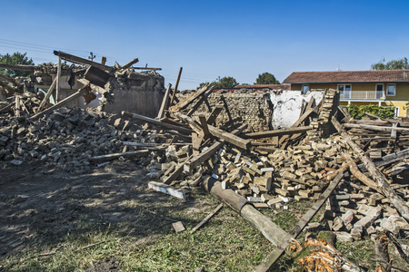 Ruins of an old house that has collapsed due to deterioration.