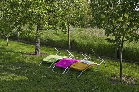 Three canvas deck chairs in the lovely yard are waiting for the sun to break through to them.