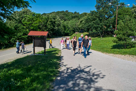 Vrsac, hill, Serbia, June 27, 2020. Arrival of a group of tourists at their destination where they will rest.