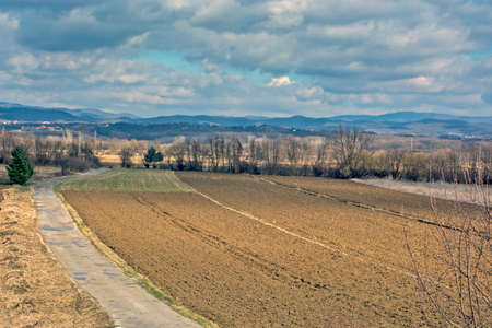 Panoramic view of the valley in western Serbia. The surroundings of the town of Loznica are very picturesque. This land is rich in lithium ore, which is called Jadarit here.