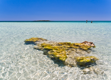 Amazing beauty of crystal clear shallow waters at Elafonisi beach, Crete