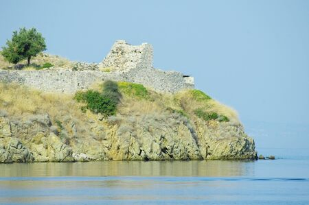 Ruins of an old roman fortress by the Aegean sea in Macedonia, Greece