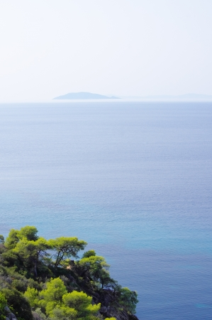 Endless Aegean sea and a lot of islands randomly scattered all around Stock Photo