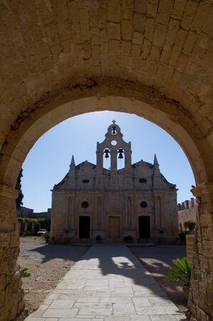 ortodox: Peacefull morning at old ortodox christian Arcadi monastery at the island of Crete Stock Photo