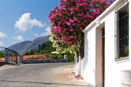 Typical mediterranean colors at the winding road to Cretan white mountains